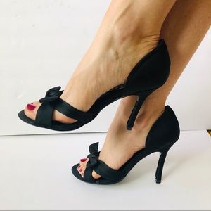 Steve Madden Black Satin Heels with Bow - Galery